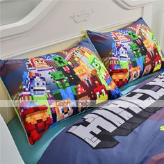 minecraft bedding, curtains and cushions all handmade to order