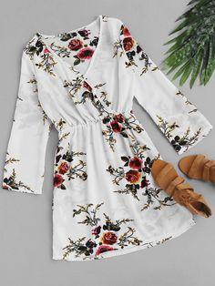 #AdoreWe #ROMWE ROMWE Floral Print Random Surplice Dress - AdoreWe.com