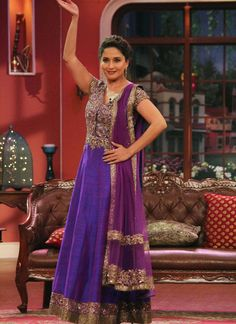 Madhuri Dixit Purple Anarkali Style Gown At Comedy Nights
