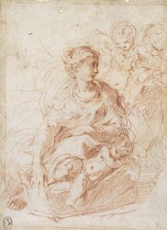 Parmigianino (Girolamo Francesco Maria Mazzola), 1503-1540, Italian, The Virgin seated on the ground. Red chalk. Royal Collection Trust, Windsor. Mannerism.