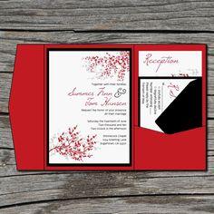 Wedding Invitation, DIY, Pocketfold, Cherry Blossom, Sakura, Printable, Digital File by ticklemeink on Etsy. $60.00, via Etsy.