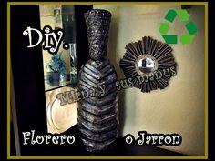 Diy. Jarron reciclando botes de plastico. Diy. vase recycling plastic bo...