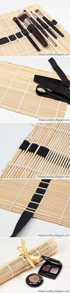 DIY : Sushi Mat Brush Organizer. Idea to use for crochet hooks?...