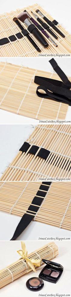 DIY : Sushi Mat Brush Organizer. Idea to use for crochet hooks?...
