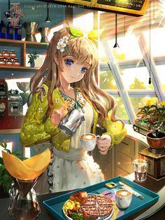 "Tags: ""apron"" ""beverage"" ""blue eyes"" ""brown hair"" ""flower"" ""food"" ""hairpins"" ""ribbon"" ""smile"" Source: ""Gang Road"" Artist: ""Tob"""
