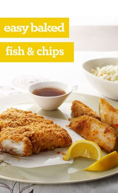 """Easy Baked Fish & Chips — You'll never eat frozen fish sticks again once you dig into our crispy, flaky haddock. And our """"chips""""? Zestier than ordinary french fries."""