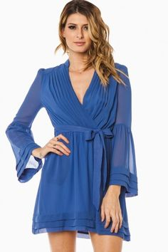 644458bc81c50 rorey wrap dress slate blue Blue Dresses