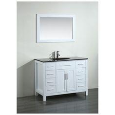 Best Deal - 43'' Bosconi SB-252-7WHBG Contemporary Single Vanity