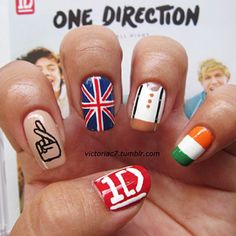 one direction nails :) love it<3 but instead of zayns crossed fingers tattoo, use harrys star