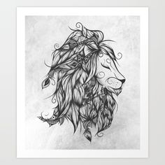 Poetic+Lion+B&W+Art+Print+by+LouJah+-+$18.72