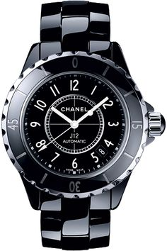 CERAMIC: Chanel J12 with black high-tech ceramic case and bracelet.