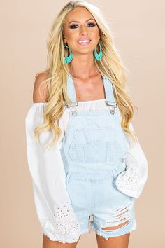 ccb3a5c52d4c4 Playdate Destroyed Overall in Light Wash-  34 These distressed overalls are  so cute! These will become your weekend uniform! Wear these shorts overalls  with ...