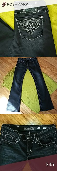 "New Miss Me jeans New Miss Me black denim with white stiching; boot cut; size 28 (us size I believe is six); nwot;low rise; lenght 38""; inseem 30""; these are ammmazzingggg Miss Me Jeans Boot Cut"