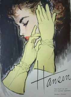Illustration by Lucia, 1957,  Hansen Womens Soft Touch Gloves ad., Milwaukee, Wisconsin.