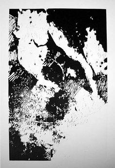 Postać I. Praca graficzna czarno-biała, grafika warsztatowa wykonana techniką linorytu na papierze, bez oprawy.