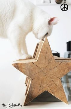 Great idea for a DIY! Méchant Design: for a white and wood christmas