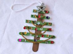Craft Stick Christmas Tree Ornament by