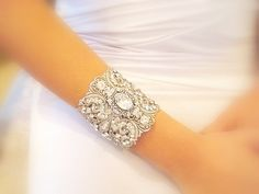 Bridal cuff bracelet wedding bracelet antique by treasures570, $120.00