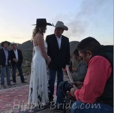 One of our recent brides in Arizona. Such a spectacular setting. Hippie Bride, Sash, Headpiece, Cowboy Hats, Arizona, Brides, Wedding Dresses, Fashion, Bride Dresses