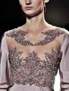 Sheer bodice features perfectly placed lace and beadwork - offset by silk sleeves to match the rest of the gown -  Elie Saab Haute Coture Spring-Summer 2013
