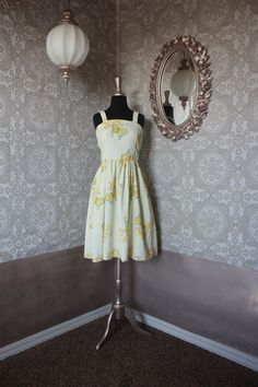 Vintage 1960's 70's Yellow Sundress with Butterflies and Floral Print M/L by pursuingandie on Etsy