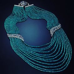 "Stunning strands of Paraiba in ""Neon Blue"" necklace set with Paraiba Sapphires and Diamonds from @VeschettiCollection . #purplebyanki #luxury #loveit #jewelry #jewelrydesign #jewelrydesigner #gold #jewelrydesign #finejewelry #luxurylifestyle #instagood #follow #instadaily #lovely #beautiful #dubaifashion #dubailife #mydubai #beautiful #love #jewelgoals #fashion"