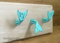 Distressed Turquoise Whale Tail Knob Drawer Pull or by knobpologie