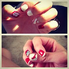 Yes, sporting events double as an excuse to go cray with my nails.. #stlcards #baseball #nailart