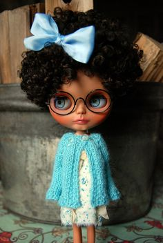 Blythe Doll Knitted Alpaca Cardigan - Light Turquoise