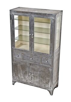 Hard To Find Oversized C. Vintage Medical Heavy Gauge Steel Stationary  Operating Room Instrument Cabinet   Operating Or Examination Room Cabinetry    Medical ...