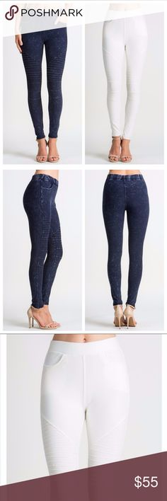 Denim Moto Jeggings Denim moto jeggings with functional front pockets. Stretchy and very flattering! Fit true to size. Pants Leggings