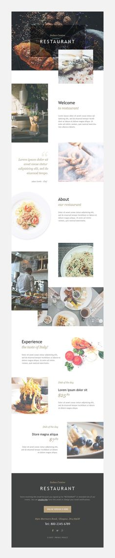 Top 50: Responsive Newsletter Templates for Your Campaign Monitor & MailChimp Email Campaign - Italian Restaurant (newsletter template) Item Picture