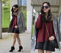 Alba . - Sheinside Sweater, Chic Wish Coat, Choies Skirt - ...Black in my boots...