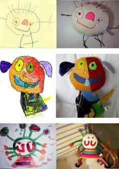 This is a fabulous idea!! I laughed out loud when I saw it so I had to share!! Toys from kids drawings