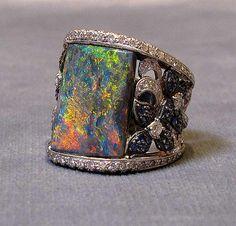 Black Opal, diamonds and Sapphires