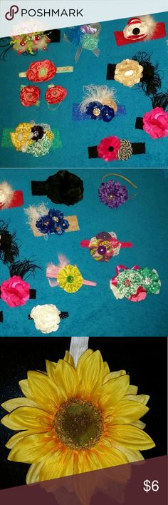 Custom made accessories I custom make headbands, toe blooms, Binky holders, wipe cases, onesies, sets, garters, etc. The price ranges from $6-30, depending on the time, effort and material required. Headbands are $6-18. Most of the ones pictured are available, just pick and I'll create a listing for you! The most expensive in these pics is $13. If you would like something special, just contact me, I LOVE custom orders!!! Sallie's Creations Accessories Hair Accessories