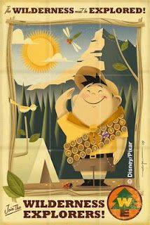Up (Pixar) modern vintage poster - Wilderness Explorers! Great for a kid's room. You can become a Wilderness Explorer at Animal Kingdom. Disney Up, Retro Disney, Vintage Disney, Disney Love, Disney Magic, Retro Vintage, Vintage Style, Up Pixar, Up Imagenes
