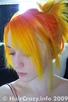 Totes want to have fire hair! This is SFX Napalm orange and Directions Dandelion yellow