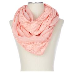 bufanda de tela y encaje color coral