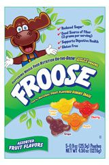 """Froose gummy snacks. Organic, gluten free, no preservatives or food dyes. Less sugar than """"regular"""" gummies. Also like it for the """"helps digestion"""" claim  – contains a probiotic. I get it at BelAir in the Sacramento area."""