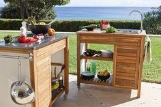 cuisine extérieur Kitchen Cart, Kitchen Decor, Bbq Area, Summer Kitchen, Barbacoa, Small House Plans, Cool Diy, Outdoor Living, Deck