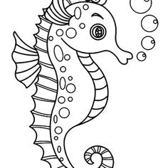 An Outline Drawing of Seahorse Coloring Page | Kids Play Color