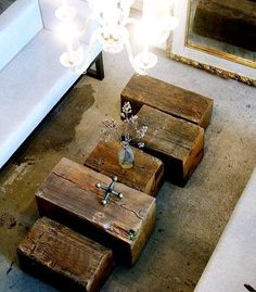 Back to basics. Rustic wood beam tables add great texture to the room. #furnituredesign #interiordesign #wood #liveedge #slab #coffeetable #woodwork #westcoaststyle #rustic by chainsawmuse