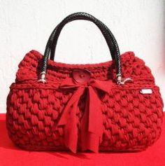Borse & c. borsa artigianale donna fatta a mano uncinetto rossa bordeaux