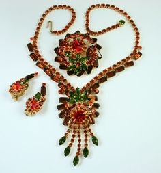 $350.00  Juliana D&E Rhinestone Necklace, Pin and Earrings...Wow factor....