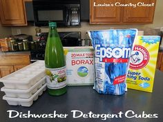 Louise's Country Closet: Homemade Dishwasher Detergent Cubes Ingredients: 1 Cup Borax 1 Cup Washing Soda Cup Epsom Salt Lemon Juice Can omit borax if concerned. Mix dry first. Add 4 T. LJ per cup. Wet but not too wet, ice cube trays, set in sun to dry. Homemade Cleaning Supplies, Cleaning Recipes, Cleaning Hacks, Homemade Products, Frugal Recipes, Organizing Tips, Deep Cleaning, Cleaners Homemade, Diy Cleaners
