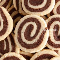 Chocolate Pinwheel Cookies Southern Red Velvet Cake, Pinwheel Cookies, Chocolate Cookie Dough, Vanilla Cookies, Oven Racks, Slice Of Bread, Unsweetened Cocoa, Vegetarian Chocolate, Dessert Recipes