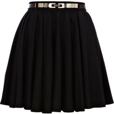 River Island Black skater belted skirt (£12) ❤ liked on Polyvore featuring skirts, bottoms, saias, faldas, sale, belted skirt, river island, knee length skater skirt and skater skirts
