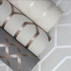 Quartz Trellis Geometric Wallpaper Copper and Charcoal Grey Fine Decor - World of Wallpaper - Wallpapers Designs