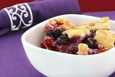 Casserole Dessert Recipe: Sweet Blackberry Cobbler (for a healthier version-substitute crisco & butter for coconut oil,  whole wheat pastry flour for the white flour, & non dairy milk for the milk).